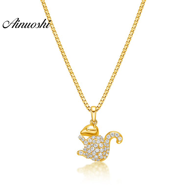 купить AINUOSHI 10K Solid Yellow Gold Pendant Shining Mouse Pendant SONA Diamond Women Men Child Jewelry Little Animal Separate Pendant недорого
