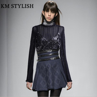 2017 Winter Women Sets New Long Sleeve Sexy Lace Shirt Heavy Duty Beaded Suspenders Rivet Sequined