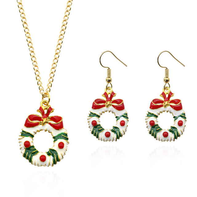 Fashion Christmas Jewelry Sets Santa Claus Xmas Wreath Bells Boots Gifts Box Tree Necklace Earrings Set Jewellery Dropshipping