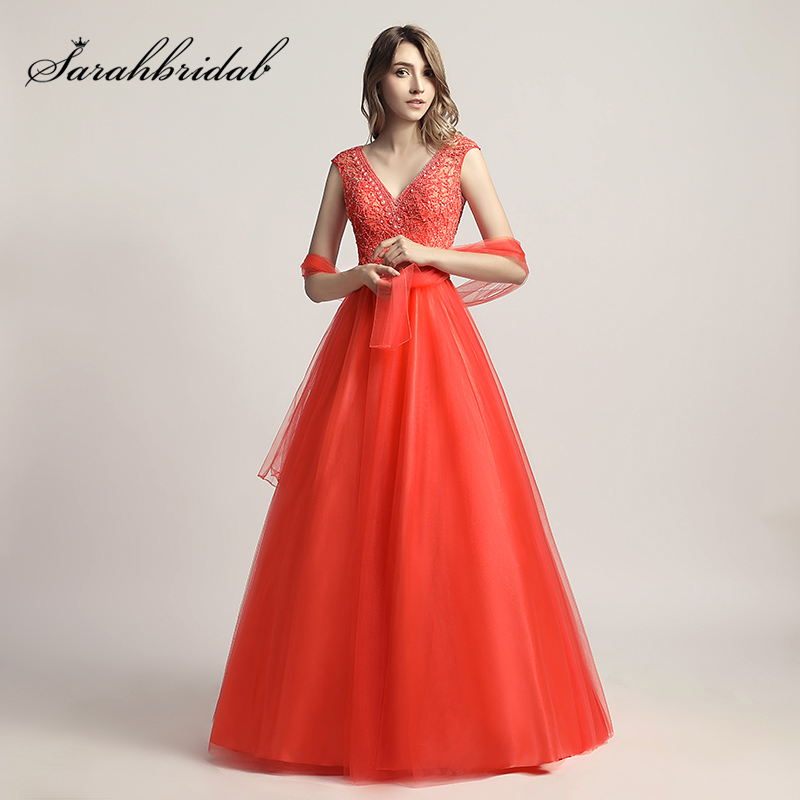 New Arrival In Stock Coral V-Neck Ball Gown Evening Dresses 2017 with Beading Crystal Tulle Open Back Prom Party Gown LX426