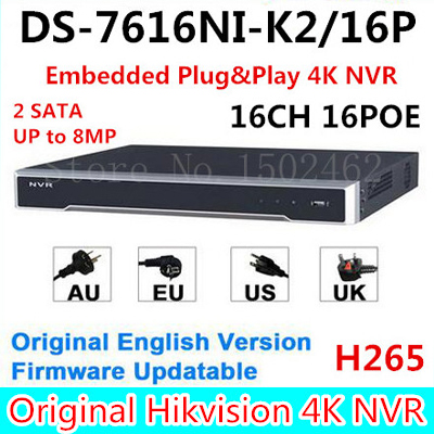 Hikvision Original English Version DS-7616NI-K2/16P Embedded Plug&Play 4K NVR H.265 2SATA up to 8MP 16POE 16CH DHL Free Shipping 16ch 8poe nvr 7616ni se p original english version