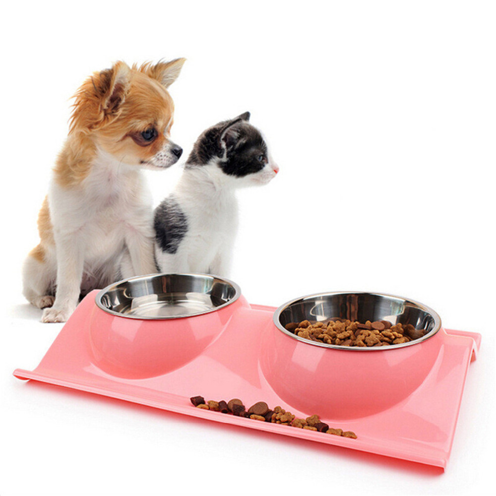 Pet Drinking Dual Double Dog Cat Bowl Stainless Steel Feeder Supplies Container For Food Pets Products Cats Bowls And Feeders