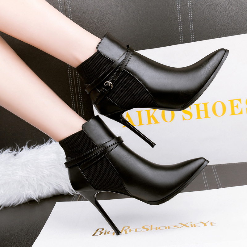 New Brand women boots elegant PU leather Black shoes woman Autumn winter ankle boots pointed toe buckle high heels Quality boots autumn winter high quality new genuine leather wedges high heels ankle boots elegant fashion pointed toe buckle women boots