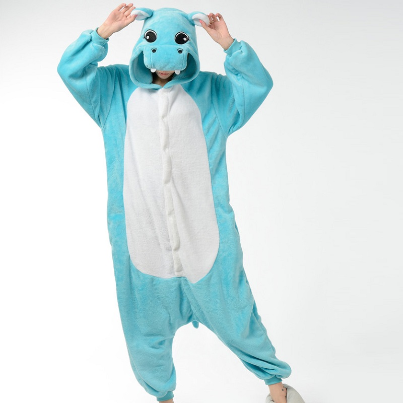 Kigurumi Blue Pink Gray Hippo Long Sleeve Hooded Onsie Men Women One-piece animal pajamas Flannel Warm Homwwear Adult Onesie