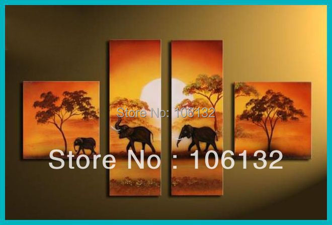 Framed 4 Panel Large High End Stunning 4 Piece Canvas Art Landscape Picture  African Sunset Painting