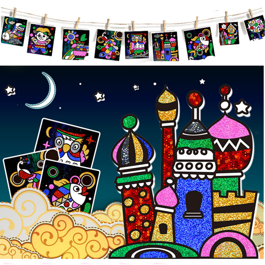 Купить с кэшбэком 1Set Magic Drawing Paper Toy Children Birthday Gifts Educational Toy Colored Magic Painting Drawing Board For Kids Magic Sticker