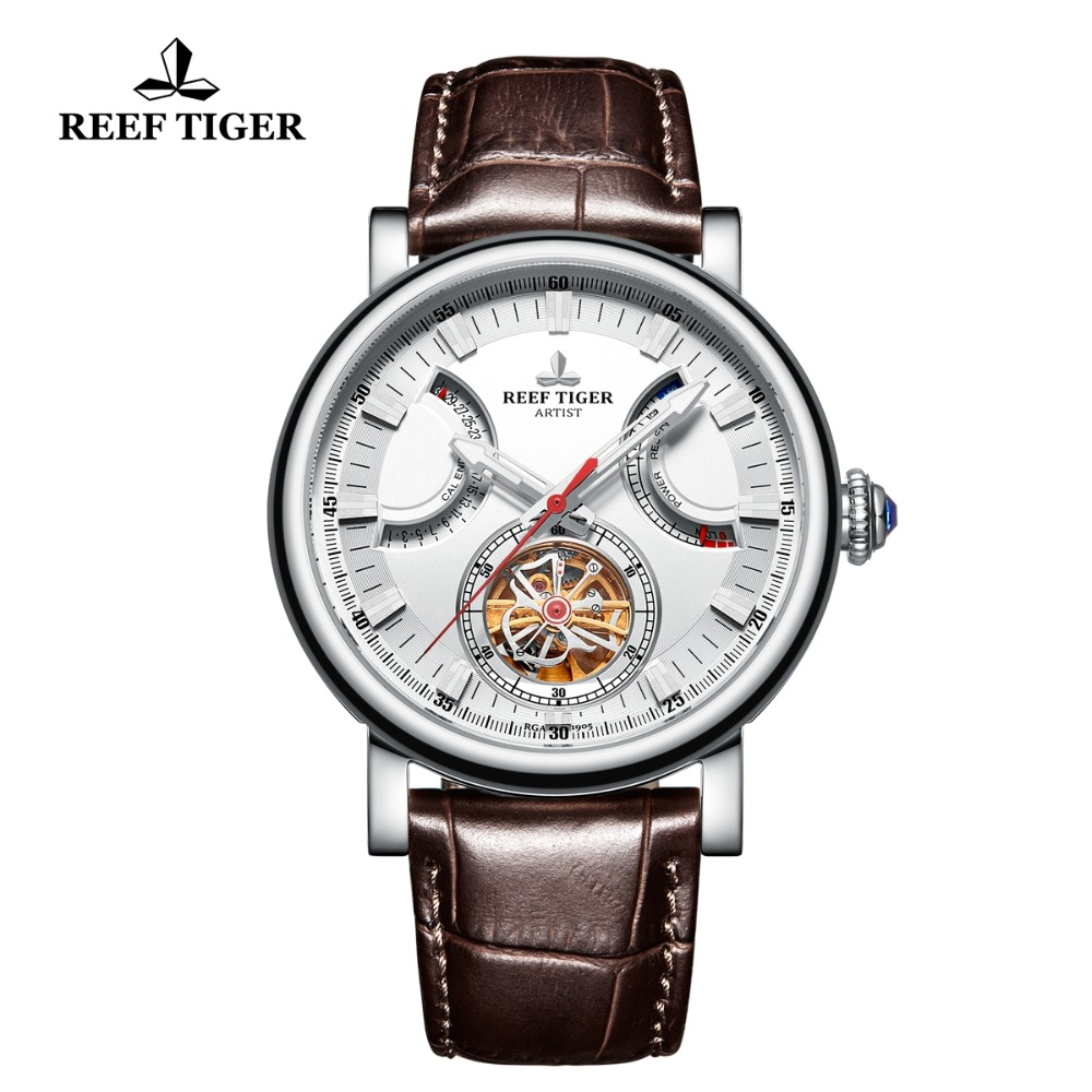 Reef Tiger/RT Dress Ventige Mens Watches Steel White Dial Sapphire Glass Automatic Watches Brown Leather Strap Watch RGA1950Reef Tiger/RT Dress Ventige Mens Watches Steel White Dial Sapphire Glass Automatic Watches Brown Leather Strap Watch RGA1950