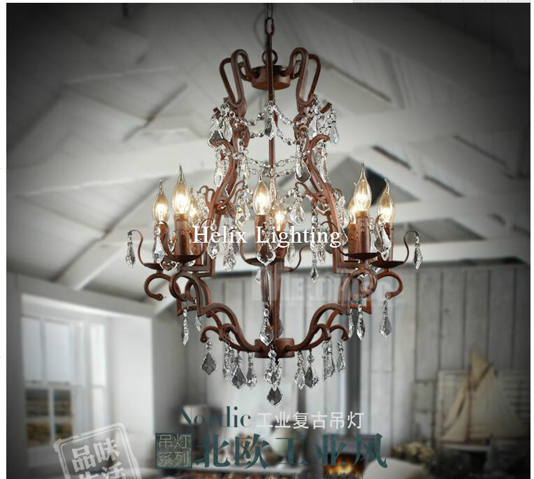 Free Shipping Luxury Vintage Crystal Chandelier Loft E14 LED Pendant Lamp Suspension Luminaire For Dining Room