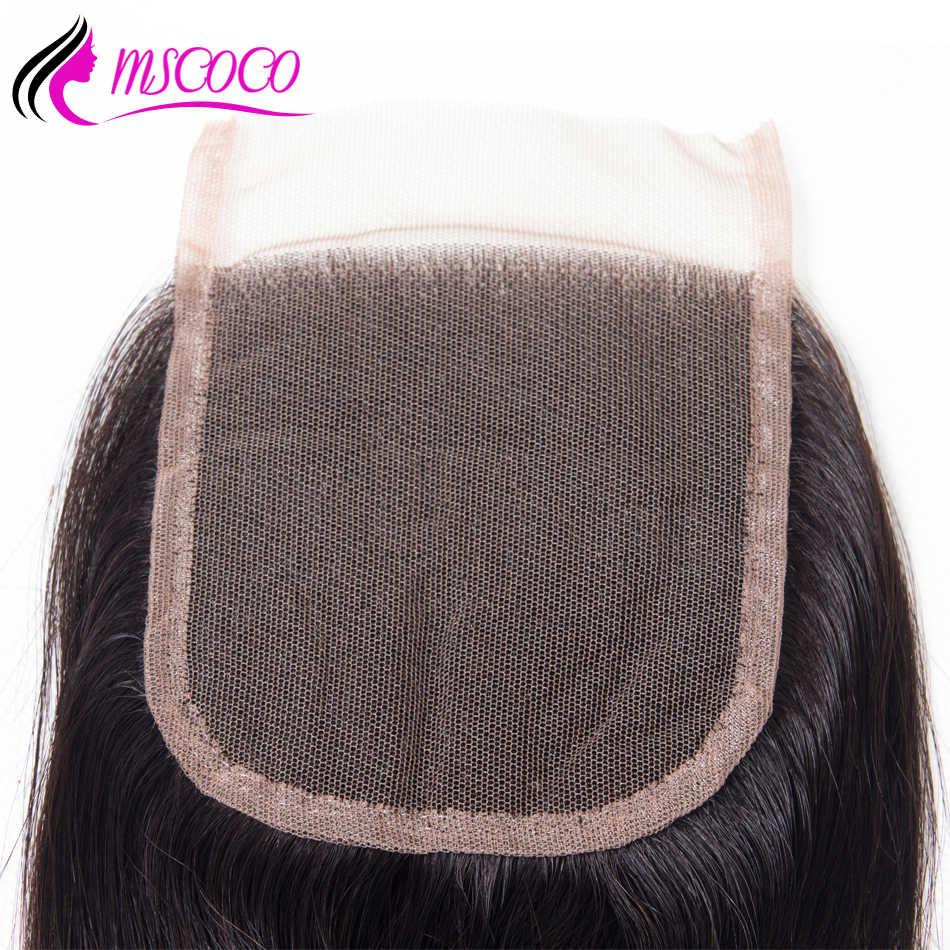 Cierre de encaje transparente Mscoco HD suelto profundo más ondulado 8-24 pulgadas pelo humano brasileño suizo cierre superior de encaje con pelo de bebé