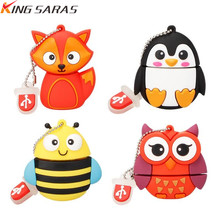 new cartoon cute penguin owl fox pen USB flash drive pendrive 4GB 8GB 16GB 32GB 64GB memory stick animal U disk free shipping
