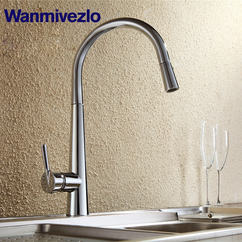 Modern Polished Chrome Brass Kitchen Sink Faucet Pull Out Single Handle Swivel Spout Vessel Sink Mixer Tap donyummyjo modern new chrome kitchen faucet pull out single handle swivel spout vessel sink mixer tap hot and cold water