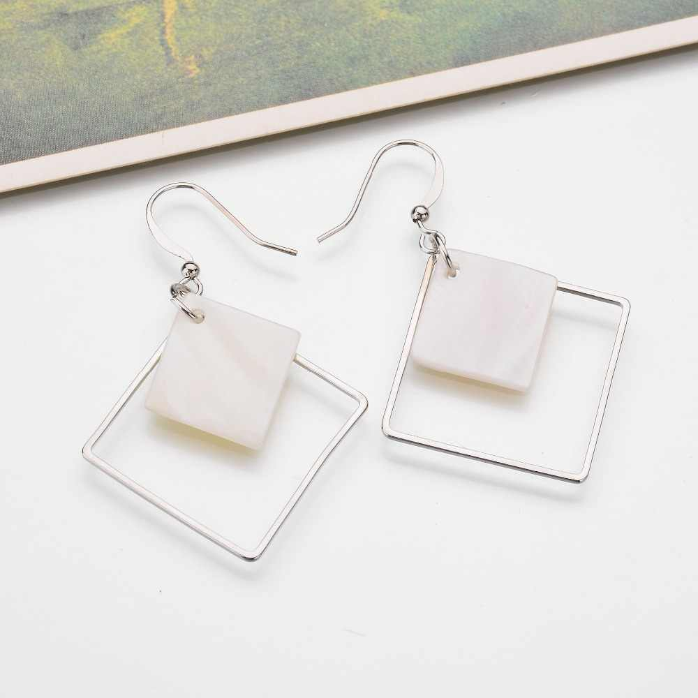 2018 New Minimalist Brief Cool Style Silver Plated Alloy Square White Shell Dangle Fashion Earrings For Women Jewelry Brincos