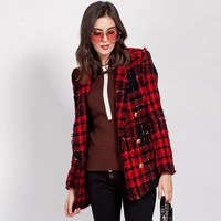 New Women Fashion Wool Jacket With Belt Causal Lion Buttons Double Breasted Red Plaid Tweed Wool Coat Female OL Slim Balzer Coat