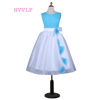 Blue 2019 Flower Girl Dresses For Weddings A-line Scoop Tulle Flowers First Communion Dresses For Little Girls
