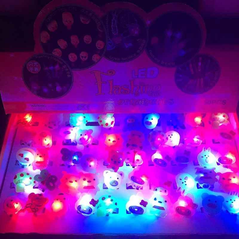 Luz de dedo de dibujos animados de brillo LED anillo de rayos láser de fibra óptica de juguete Flash fluorescente brillante de neón decoración intermitente Christma De4_F
