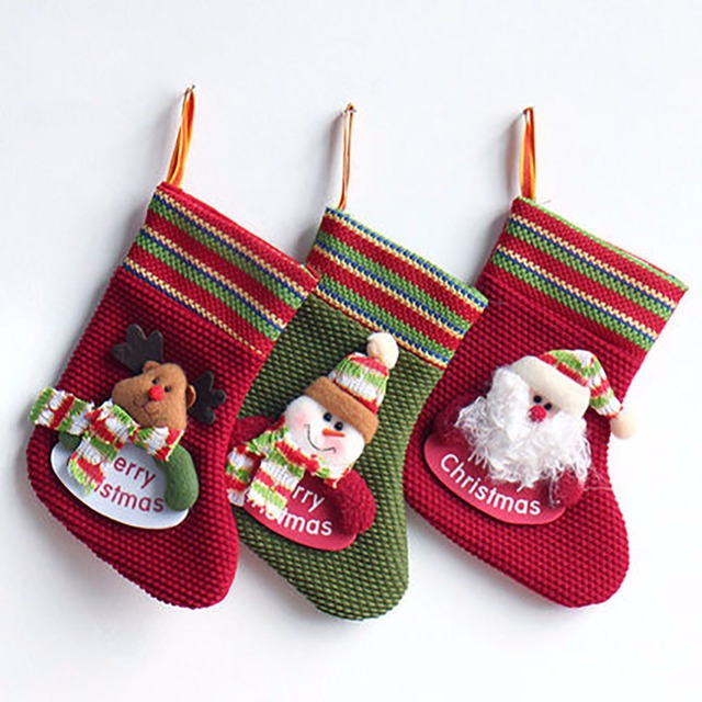 3 pcs set classic christmas stockings cute santas snowman reindeer toys stockings - Classic Christmas Stockings