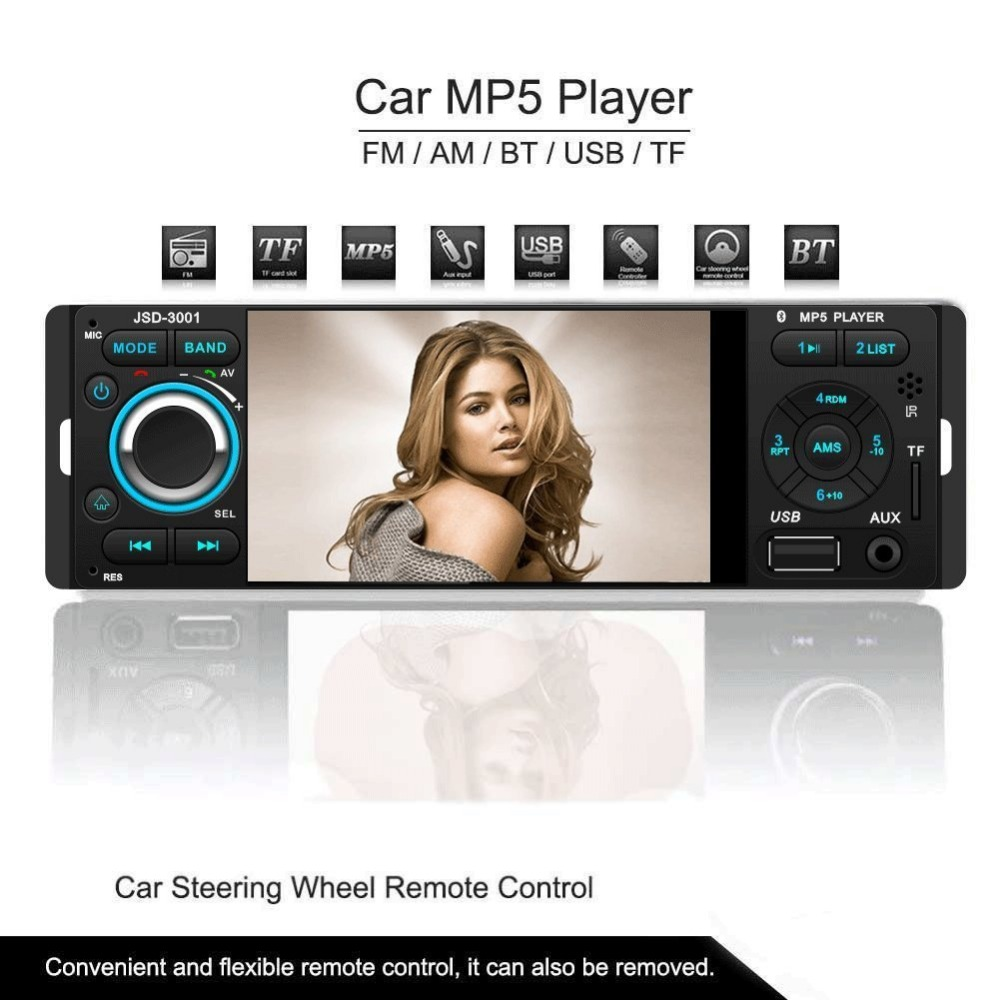 все цены на Car MP5 Player New 12V 4.1 HD Touch screen TFT Bluetooth/Stereo FM Radio/MP3/MP4/Audio/Video/USB/SD/TFT/Manufacturer/1Din