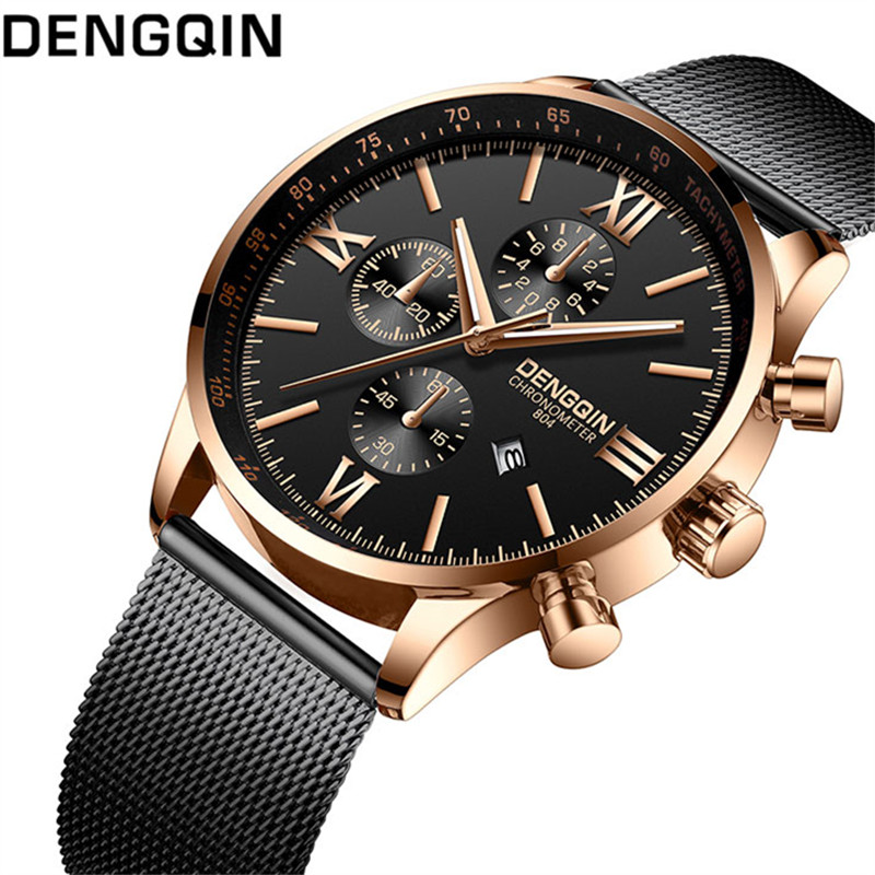 DENGQIN Top Brand Luxury Mens Watch Fashion Watches Date Calendar Waterproof Quartz Wrist Watches Clock Male relogio masculinoDENGQIN Top Brand Luxury Mens Watch Fashion Watches Date Calendar Waterproof Quartz Wrist Watches Clock Male relogio masculino