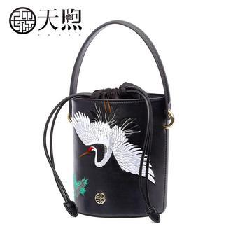 PMSIX 2020 New women  Leather bags designer famous brand fashion Embroidery bag women handbags crossbody bags Bucket bag