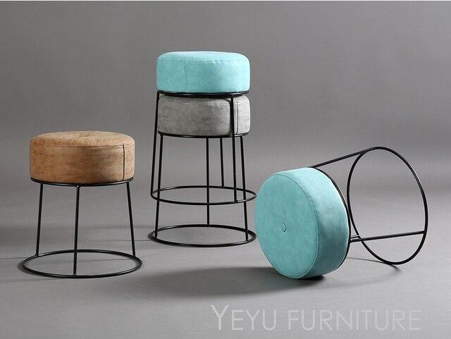 Minimalista moderno diseño apilable metal y cuero cubierta suave ...