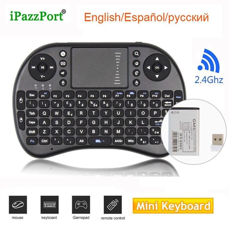 Mini Teclado I8 Inglês Russo Espanhol Mouse Sem Fio 2.4G Mini Teclado Touchpad Handheld Para Desktop Tablet PC Smart TV CAIXA
