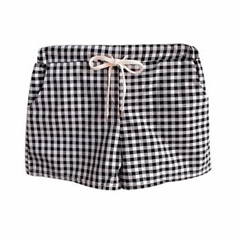 2018 New Summer Women Shorts Elastic Mid-waist Plaid Casual Cotton Linen Plus Size 4XL Short Pants