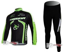 2011 MERIDA green black cycling racing Team wear Winter Thermal Fleeced Long Sleeve Jersey & Z123 set Bike cycle Clothes tights