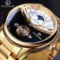 Часы Forsining мужские  автоматические  наручные  королевские  золотые  Sun Moon  самовсасывающие  с скелетом  из нержавеющей стали  механические