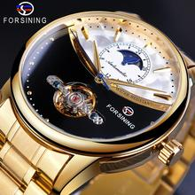 Forsining Reloj de pulsera automático para hombre, dorado, real, Luna, esqueleto de autoviento, banda de acero inoxidable, reloj mecánico, 2019