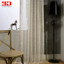 Striped Flower Embroidered Sheer Curtains for Kitchen Living Room Blinds White Voile Window Tulle Curtains for Bedroom Modern