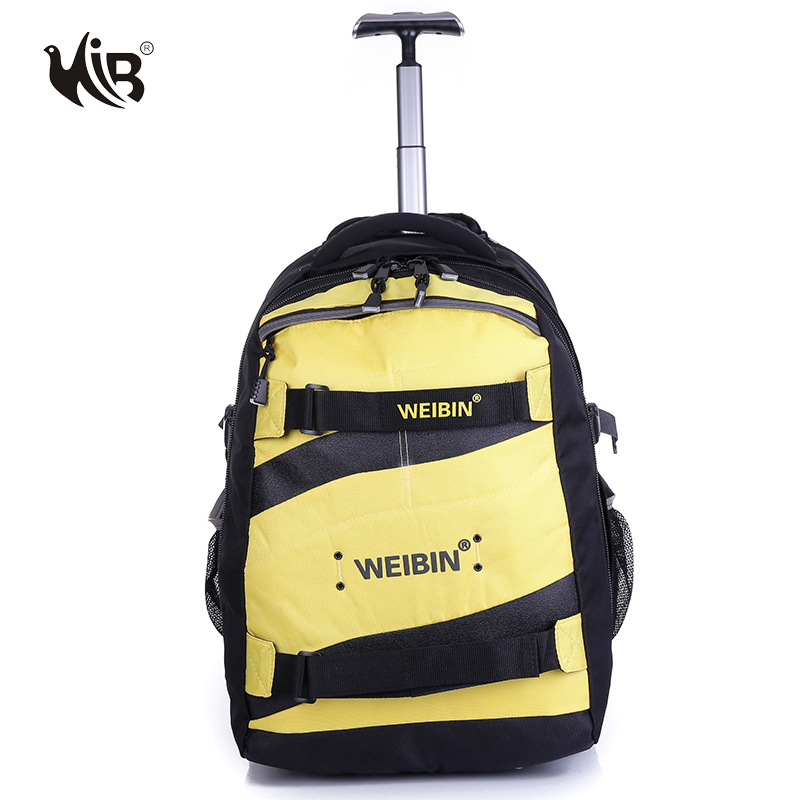ФОТО High-Quality Suppressible trolley backpack Outdoor Unisex Waterproof Camping Tour Roller Bag 40L Large Capacity Shoulders Pack