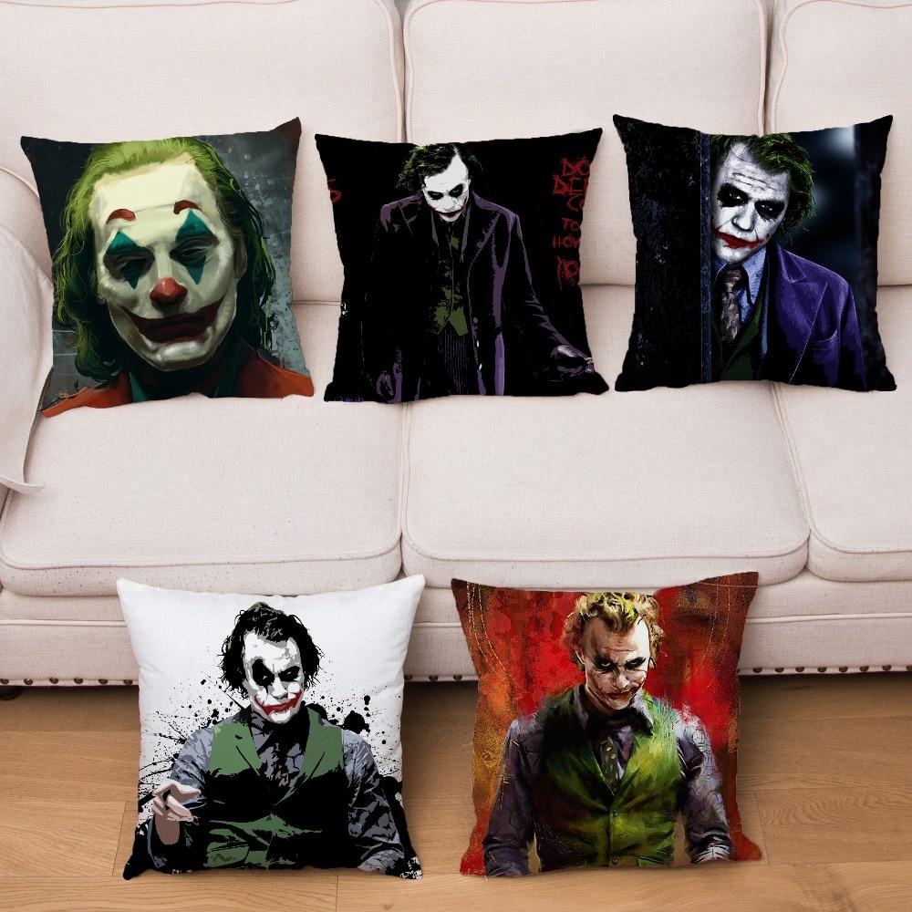 Super Soft Short Plush Cushion Cover 45*45 Square Pillow Covers HD Horror Clown Joker Print Pillows Cases Home Decor Pillowcase