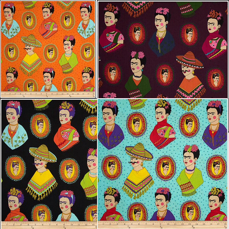 웃 유cotton Fabric Vintage Frida Kahlo ᐂ Print Print The