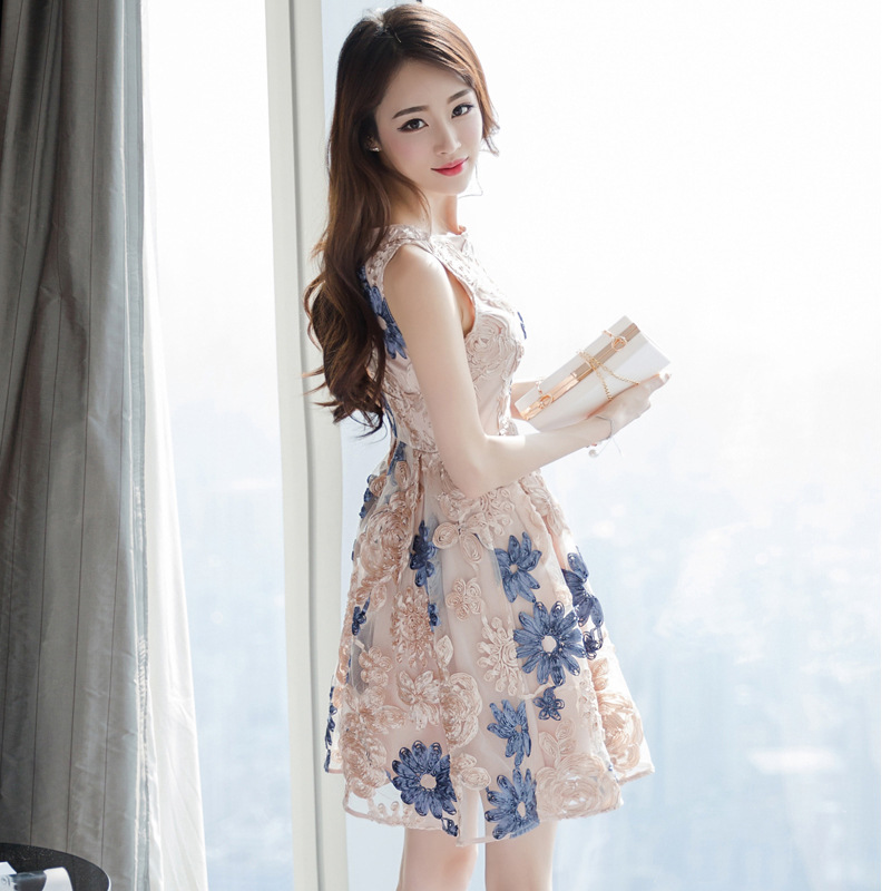 LiebenswüRdig Han-ausgabe Kultivieren Irgendjemandes Dünne Garn Stickerei ärmelloses Kleid Licht Luxus-mode Netzwerk Weibliche Farben Sind AuffäLlig