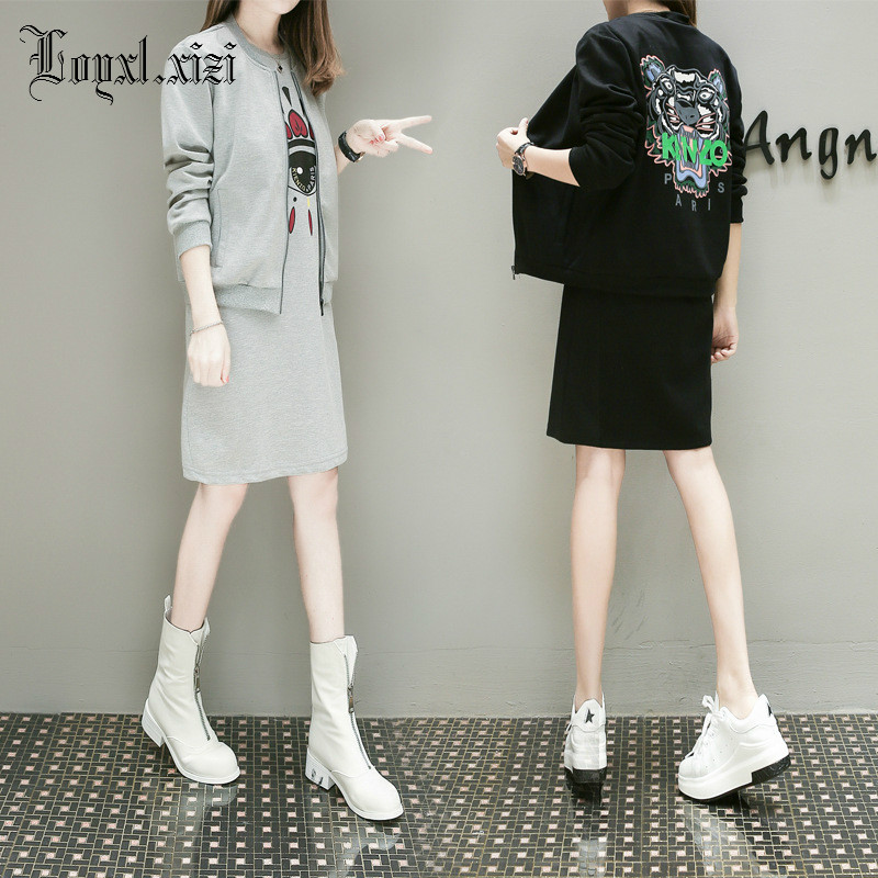 2018 spring the fat mm street-style dress is a two-piece suit for the slim wind dress.YM0024