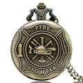 Classic Firefighter Pattern Quartz Necklace Pendant Relogio De Bolso Bronze Pocket Watch