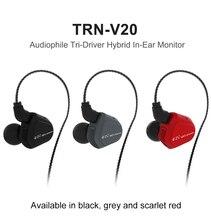 Mais novo TRN 1DD V20 + 1BA Híbrido No Ouvido Fone de Ouvido de ALTA FIDELIDADE DJ Monito execução Esporte Fone De Ouvido fone de Ouvido Earplug Com 2PIN PK KZ ZS5 ZST QKZ