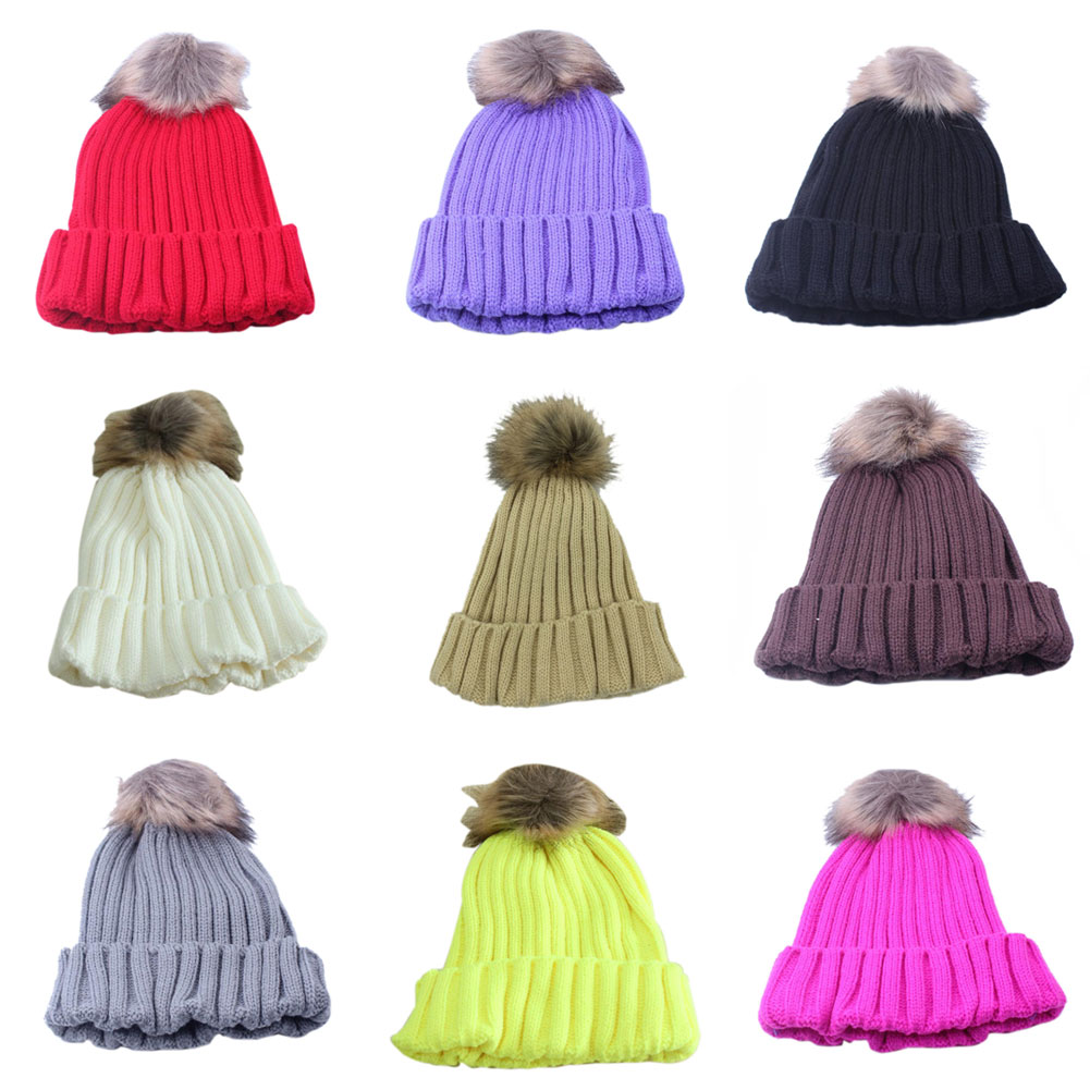 New Women Winter Wool Hat Rabbit Fur Ball Beanie Hat Knitted Warm Hat Ski Cap 88 -MX8 the new children s cubs hat qiu dong with cartoon animals knitting wool cap and pile
