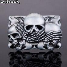 WesBuck marca Ceinture Hombre Punk Rock Hebillas De Metal cráneo hebilla De  cinturón 9ba0c41c4058
