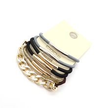 4pcs/set Elastic Hair Bands 4 Color Gold Tchain Pipe Double Rubber For Women Girl Child Jewelry Accessories Holiday Gift