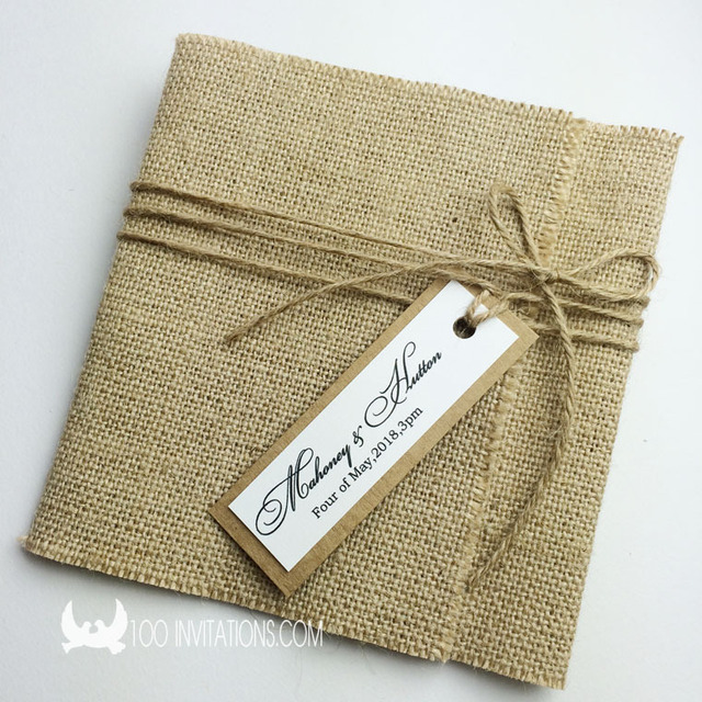Sackcloth Wedding Invitation with Chic Tag and String Perfect For