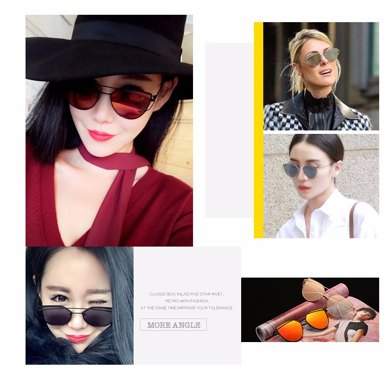 2017 Brand Retro Cat Eye Sunglasses Women Vintage Fashion Rose Gold Mirror Eye Glasses Unique Flat Ladies Eyewear Oculos UV400 17