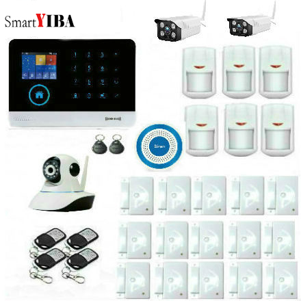 SmartYIBA WiFi GSM GPRS Home Security Alarm System with 2.4 TFT Touch Panel APP Control Support SMS Call Alarm Sensor Siren Kit smartyiba app control wifi gsm gprs home alarm system motion alarm door sensor wireless security alam system rfid sms alarm kit