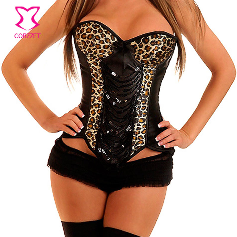Punk Gothic Overbust Push Up   Corsets   and   Bustiers   Burlesque Leopard and Sequin   Corset   Corselet Korsett For Women Sexy Corpete