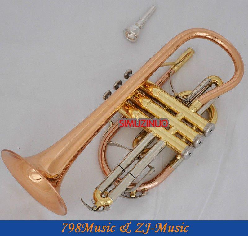 Profesionální růžová mosaz Cornet horn B-flat NEW Double spouští trumpetu s pouzdrem
