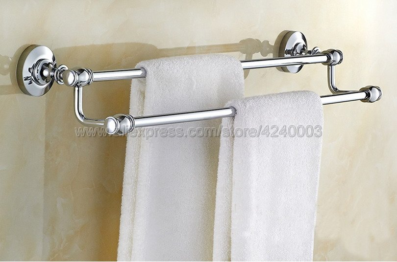 Polished Chrome Wall Mounted Double Towel Rail Holder Rack Bathroom Accessories Towel bar, Towel holder Kba802 leyden high quality stainless steel towel rack bathroom polished chrome towel bar wall mounted towel holder bathroom accessories