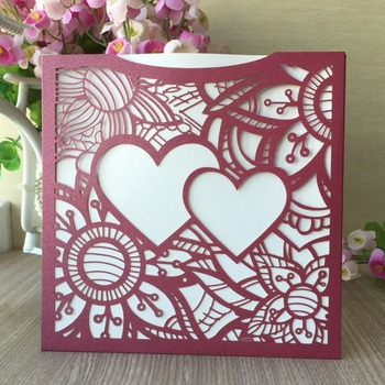 35pcs Laser Cut Heart Pattern Wedding Invitation Card Birthday Party Decorations Greeting Blessing Card