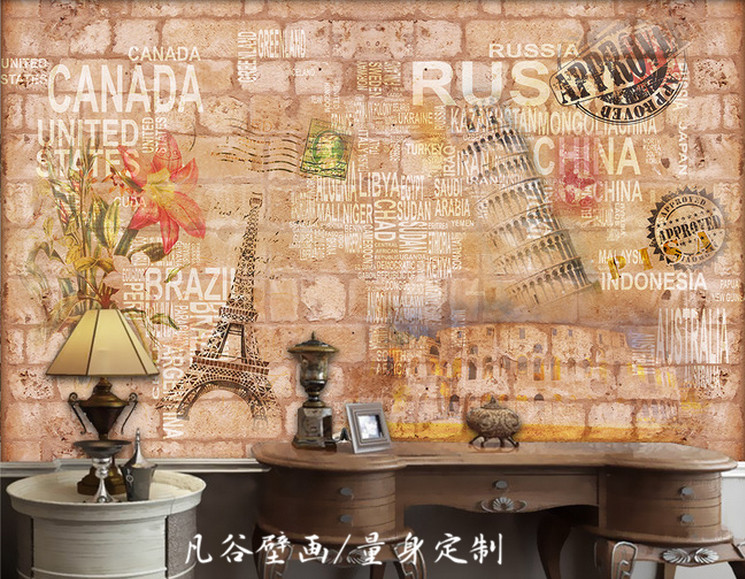 Free Shipping 3D Romantic Paris retro brick wall mural living room sofa lobby background wall bedroom bathroom wallpaper mural  free shipping ancient retro restaurant background painting living room lobby mural high quality bathroom restaurant wallpaper