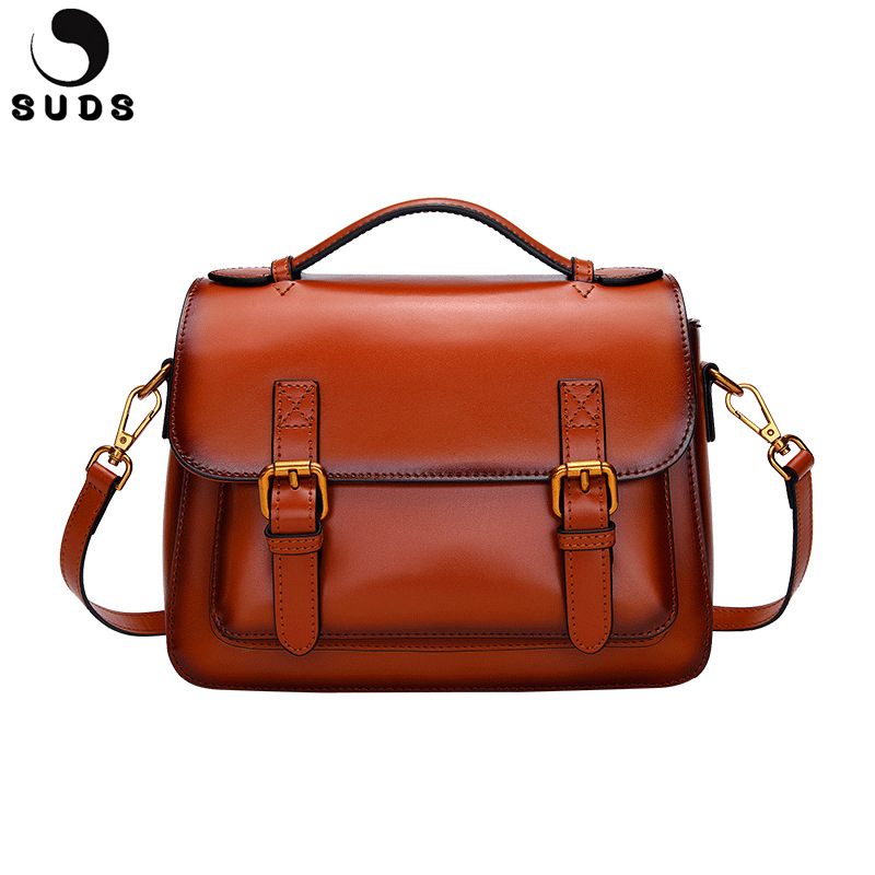 SUDS Brand Genuine Leather Handbag Vintage Women Messenger Bag High Quality Bolsa Feminina Female Cow Leather Shoulder Tote Bags vintage handbag women casual tote bag female large shoulder messenger bags high quality pu leather handbag with fur ball bolsa
