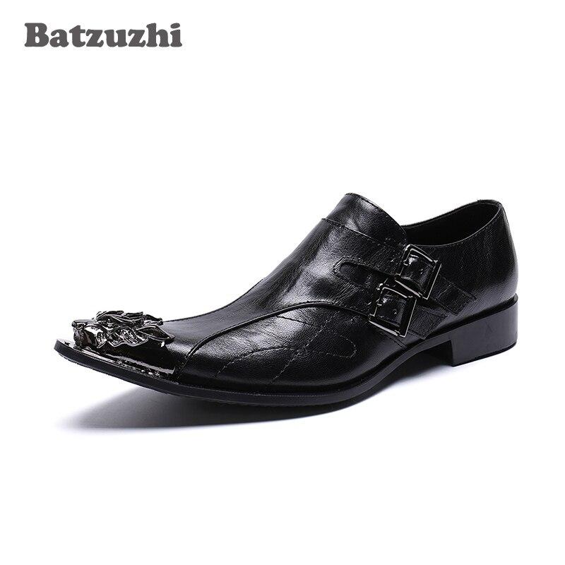 Dedo Batzuzhi Vestido Apontado Dos Metal Italiano Negócios Partido Homens E marrom Casamento Preto Preto De Couro Sapatas Moda Do nYvpzq